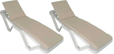 x2 Sun Lounger Cushions - Cream - Fits most Loungers Inc Resol Master/Marina