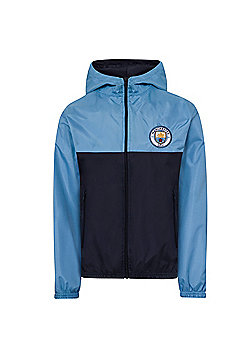 Manchester City FC Boys Shower Jacket - Blue
