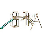 Action Arundel Twin Children's Wooden Climbing Frame with Swings, Slide and Climbing Net