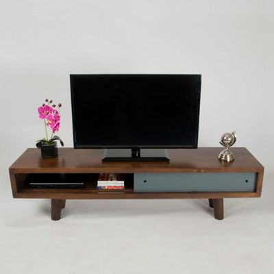 Homescapes Retro Dark Wood TV and Media Unit with Grey Sliding Door