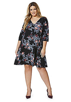 Junarose Floral Print Swing Plus Size Dress - Black