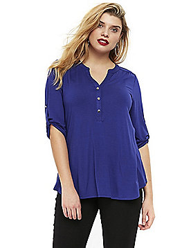 Evans Collarless Plus Size Shirt - Cobalt