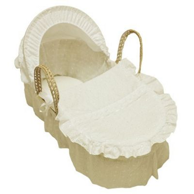 Cuddles Collection Broderie Anglais Moses Basket (Cream)