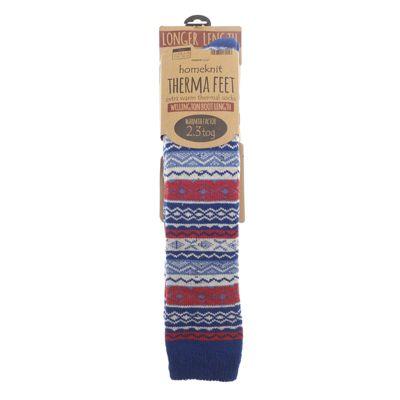 Homeknit Mens Wellington Boot Socks, Blue