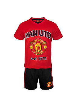 Manchester United FC Boys Short Pyjamas - Red