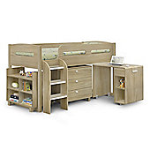 Happy Beds Kimbo Wood Kids Storage Midsleeper Cabin Desk Storage Bed with Memory Foam Mattress - Oak - 3ft Single