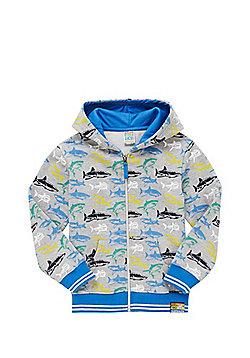 Dudeskin Shark Print Hoodie - Grey marl