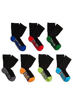 F&F 7 Pair Pack of Days of the Week Socks - Black