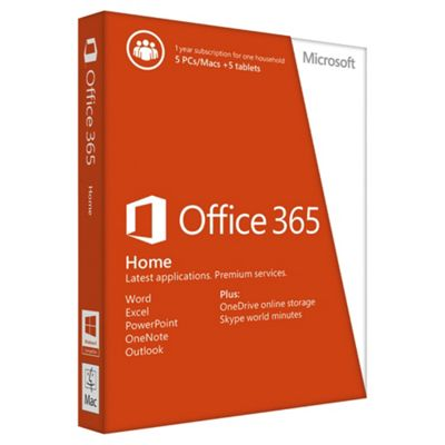 Microsoft Office 365 Home - 1 year subscription for 5 PCs/Macs + 5 tablets