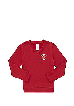 Unisex Embroidered Cotton Blend School V-Neck Sweatshirt with As New Technology - Red