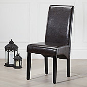 2x Brown Chester Leather High Back Scroll Dining Chair