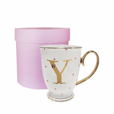 Bombay Duck Alphabet A to Z Spotty Mug Cup Gold Letter with Presentation Hat Box | Fuchsia Spots| Letter Y