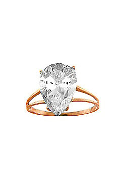 QP Jewellers 5.0ct White Topaz Pear Drop Ring in 14K Rose Gold