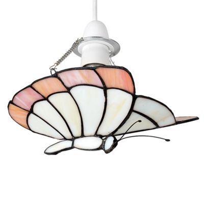 MiniSun Papillion Tiffany Butterfly LED Pendant - White & Cream - BC B22