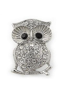 Rhodium Plated Crystal 'Owl' Brooch - 3.5cm Length