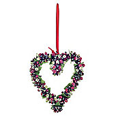 Hanging Artificial Red & Green Frosted Berry Heart Christmas Decoration