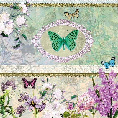 Ambiente 3 Ply Paper Napkins, Butterfly Medaillon