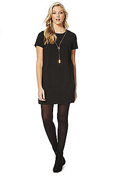 F&F Crepe Shift Dress with Necklace - Black