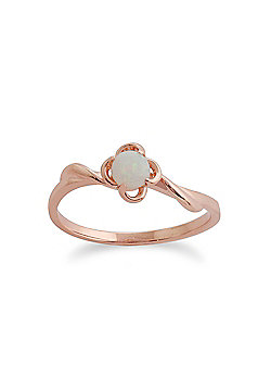 Gemondo Opal Ring, 9ct Rose Gold 0.13ct Opal Floral Ring