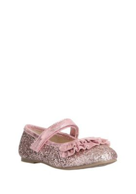 F&F Glitter Ruffle Trim Mary Jane Pumps Pink Child 12
