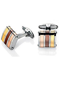 Fred Bennett Three Tone Stainless Steel Cufflinks