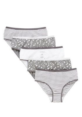 F&F 5 Pack of Star and Striped Briefs with As New Technology 9-10 years Grey & White