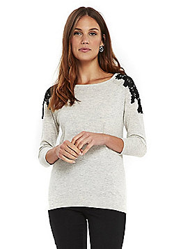 Wallis Lace Shoulder Jumper - Grey