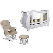 Tutti Bambini Marie Cotbed/Drawer + Glider Chair - White Finish