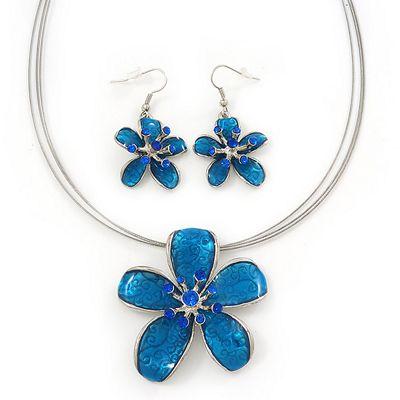 Sky Blue Enamel Diamante 'Flower' Wire Necklace & Drop Earrings Set In Silver Plating - 38cm Length/ 5cm Extension