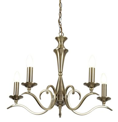 Endon Lighting Five Light Chandelier - Antique Brass
