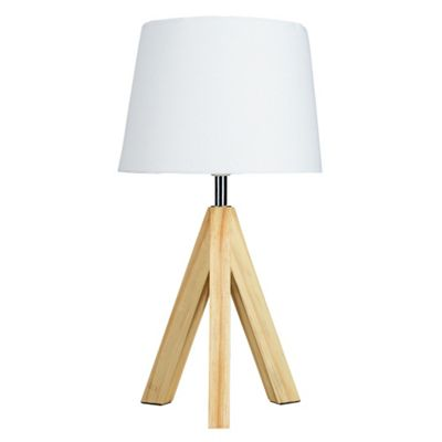 Buy Levi Small Wooden Base Tripod Table Lamp White From Our Table