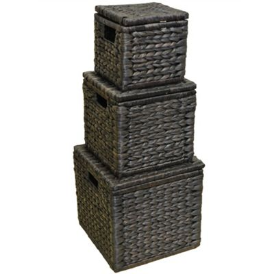 Weave - Set Of 3 Natural Woven Water Hyacinth Boxes With Hinged Lids - Chocolate
