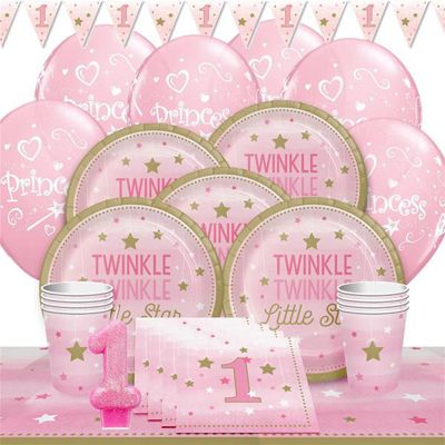 One Little Star Pink 1st Birthday Party Pack - Deluxe Pack for 8