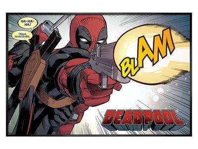 Deadpool Gloss Black Framed Blam Poster