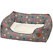 Petface Multi Dot Fleece Lined Dog Bed - Large