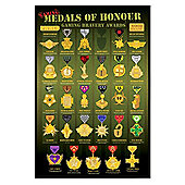 Medals of Honour Gloss Black Framed Gaming Bravery Awards Poster