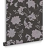Laurence Llewellyn-Bowen Glitter Floral Black/Silver Wallpaper