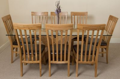 Valencia Large Oak 200cm Modern Glass Dining Table with 8 Solid Oak Chairs
