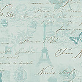Calligraphy Paris Postcard Wallpaper - Duck Egg - 97753