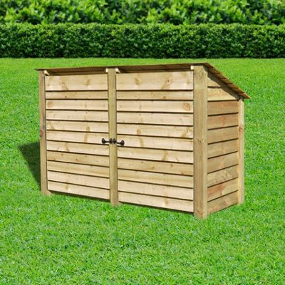 Hambleton wooden reverse roof log store with doors - 4ft