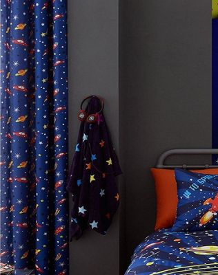 Catherine Lansfield Outer Space Eyelet Curtains 66 x 72 inch