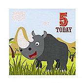 Jungle Friends Boys 5th Birthday Card