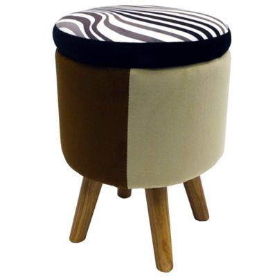 Wilde - Contemporary Round Storage Stool - Black / Brown / Beige