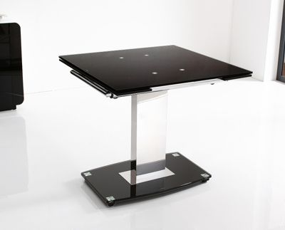 Enzo Black Glass and Stainless Steel Extending 80 - 120 cm Dining Table