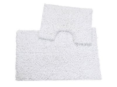 EHC White Two Pc Tumble Twist Bath Mat Set