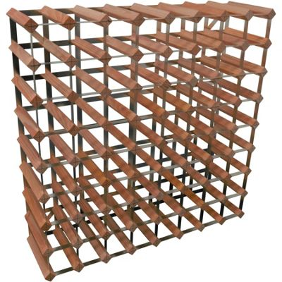 Harbour Housewares 72 Bottle Wine Rack - Fully Assembled - Dark Wood