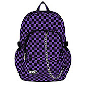 Chok Black & Purple Checker Canvas Backpack 29x42x13cm