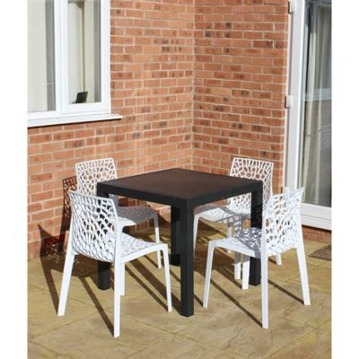 Brackenstyle Madrid Table and 4 Bianco White Neptune Chairs - Seats 4