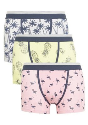 F&F 3 Pack of Flamingo and Palm Print Hipsters with As New Technology Multi S