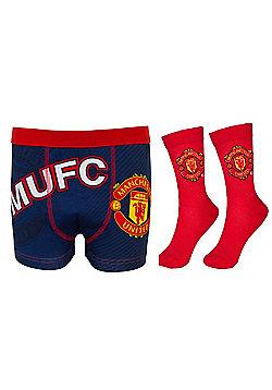 Manchester United FC Mens Socks & Boxer Shorts - Navy